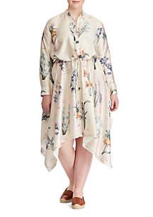 Plus Size Floral Handkerchief-Hem Dress