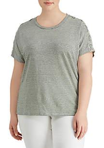 Plus Size Lace Up Linen T-Shirt