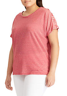 Plus-Size Lace-Up Linen T-Shirt