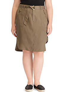Plus Size Belted Cargo Skirt
