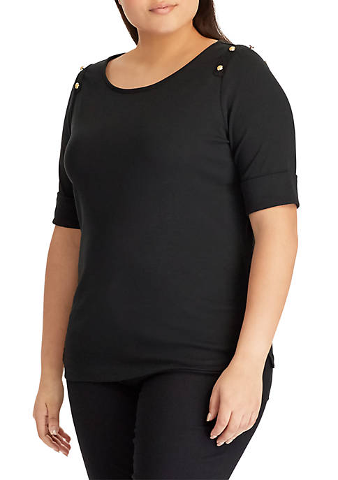Lauren Ralph Lauren Plus Size Button-Shoulder Cotton Top