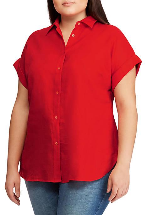 Lauren Ralph Lauren Plus Size Linen Dolman-Sleeve Shirt