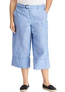 Plus Size Wide Leg Linen Crop Pants