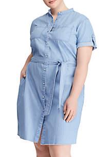 Plus Size Lightweight Bright Short Sleeve Denim Dress
