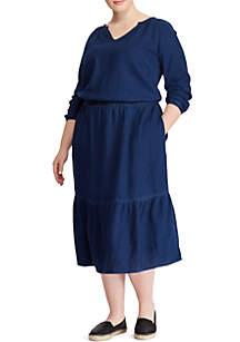 Plus Size Denim Elbow Sleeve Dress