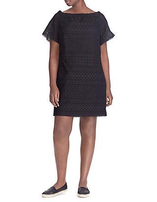 Plus Size Eyelet Cotton Off-the-Shoulder Shift Dress