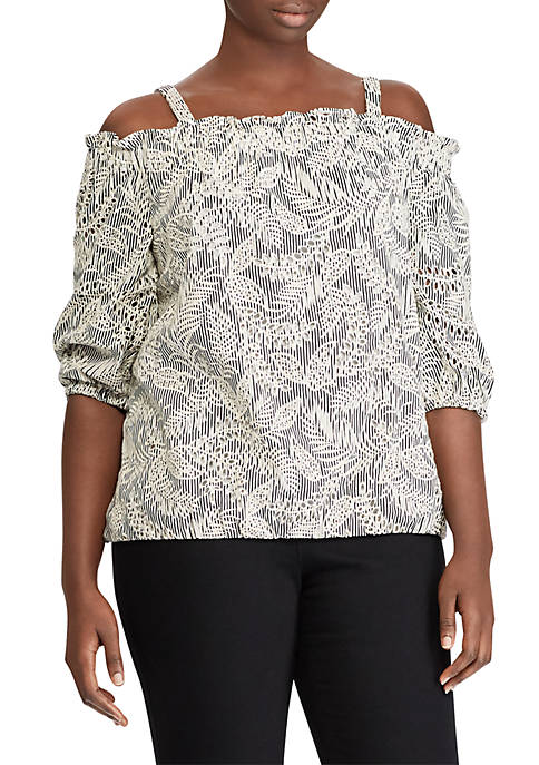 Lauren Ralph Lauren Plus Size Eyelet Cotton Cold-Shoulder