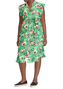 Plus Size Sleeveless Ruffle Dress