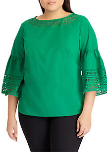 Plus Size Laser-Cut Cotton Poplin Bell-Sleeve Top
