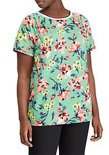 Plus Size Floral Jersey Crewneck Top