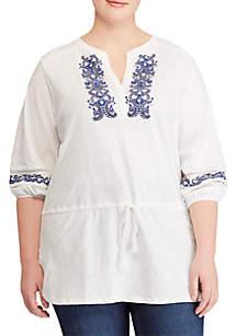 Plus Size 3/4 Sleeve Slub Knit Tunic