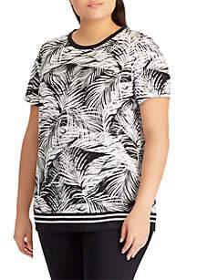Plus Size Tropical-Print Linen-Blend Top