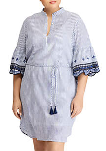 Plus Size Striped Cotton Dress