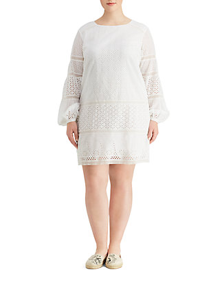 Plus Size Eyelet Lace Cotton Dress