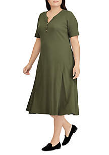 Plus Size Byoko Elbow Sleeve Casual Dress