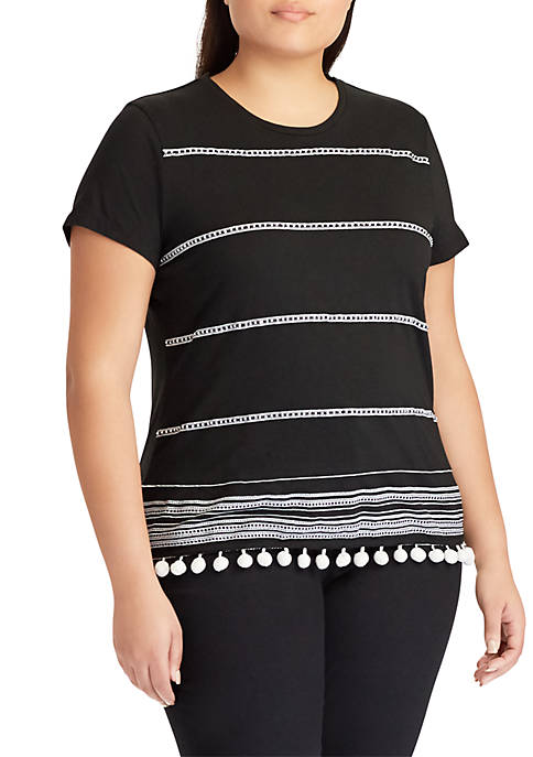 Lauren Ralph Lauren Plus Size Embroidered Pom-Pom-Trim Jersey