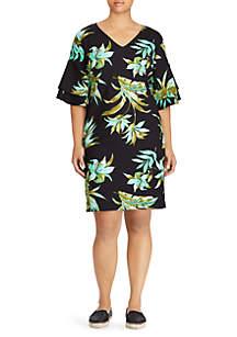 Plus Size Print Ponte Shift Dress