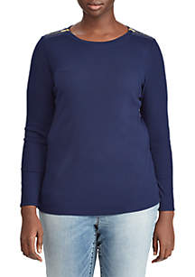 Plus Size Zipper-Trim Cotton-Blend Top