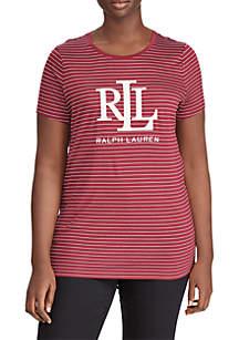 Plus Size Studded Logo T-Shirt