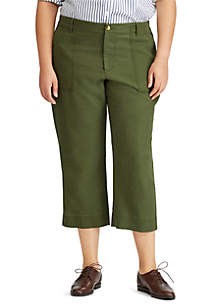 Plus Size Straight Stretch Cotton Pant
