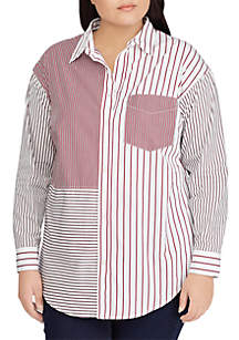 Plus Size Striped Patchwork Cotton Shirt