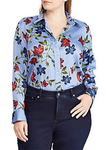 Plus Size Floral Sateen Shirt