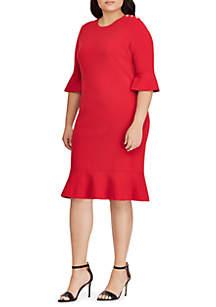 Plus Size Ruffled Cotton-Blend Dress