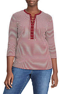 Plus Size Lace-Up Striped Cotton Top