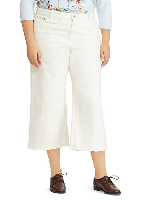 Lauren Ralph Lauren Plus Size Cropped Wide-Leg Jean