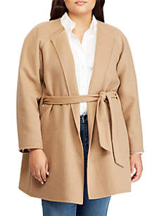 Plus Size Wool-Blend Belted Coat
