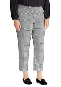 Plus Size Glen Plaid Cotton-Blend Pant