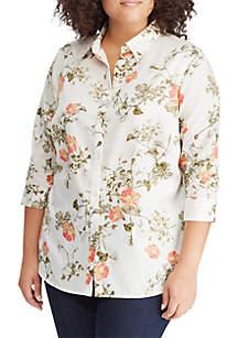 Plus Size Sateen Button-Down Shirt