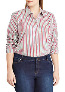 Plus Size Monogram Striped Shirt