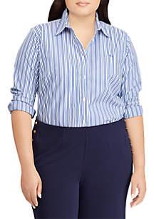 Plus Size Monogram Striped Shirt