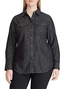 Plus Size Lauren Western Denim Shirt