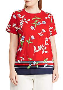 Plus Size Floral Jersey T-Shirt