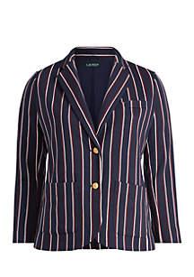 Plus Size Striped Jacquard Blazer