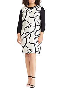 Plus Size Silk-Printed Ponte Dress