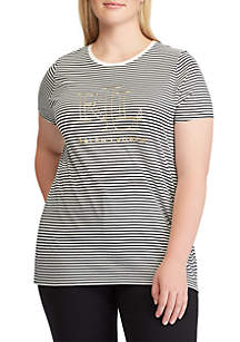 Plus Size Striped Foil-Logo T-Shirt