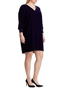 Plus Size Velvet V-Neck Dress