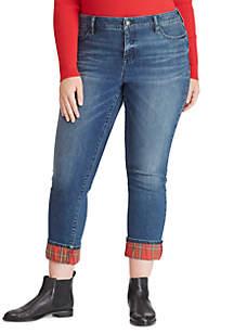 Plus Size Plaid Cuff Pants