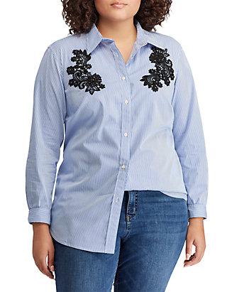 48dd56d1f Lauren Ralph Lauren. Lauren Ralph Lauren Plus Size Lace-Patch Cotton  Button-Down Shirt