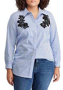 Plus Size Lace-Patch Cotton Button-Down Shirt