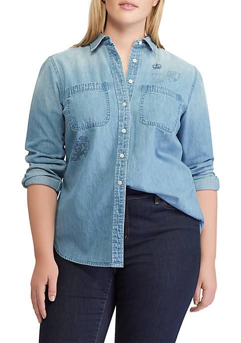 Lauren Ralph Lauren Plus Size Print Denim Button-Down