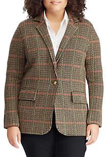 Plus Size Plaid Wool-Blend Blazer