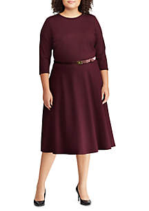 Plus Size Belted Ponte Dress