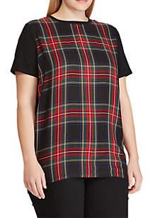 Plus Size Plaid-Panel T-Shirt