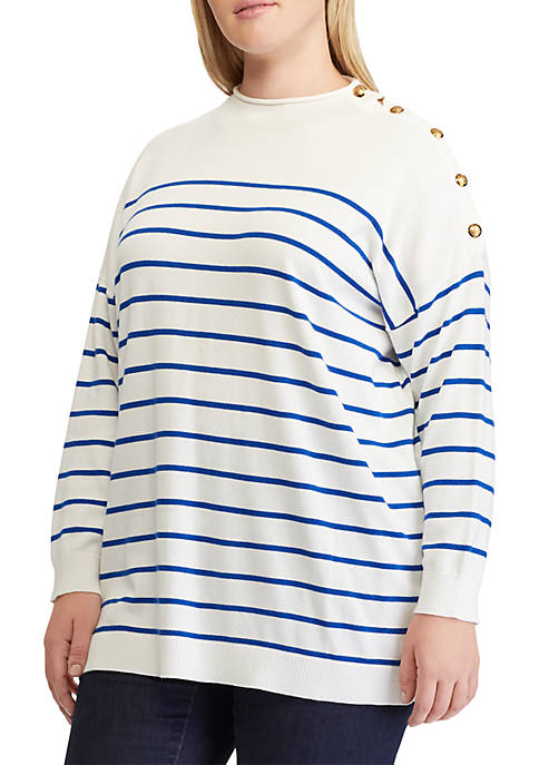 Lauren Ralph Lauren Plus Size Striped Button-Trim Sweater