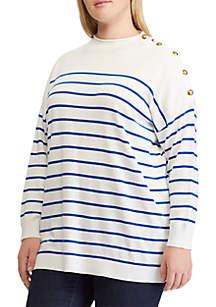 Plus Size Striped Button-Trim Sweater