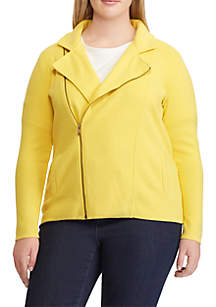 Plus Size Cotton-Blend Moto Jacket